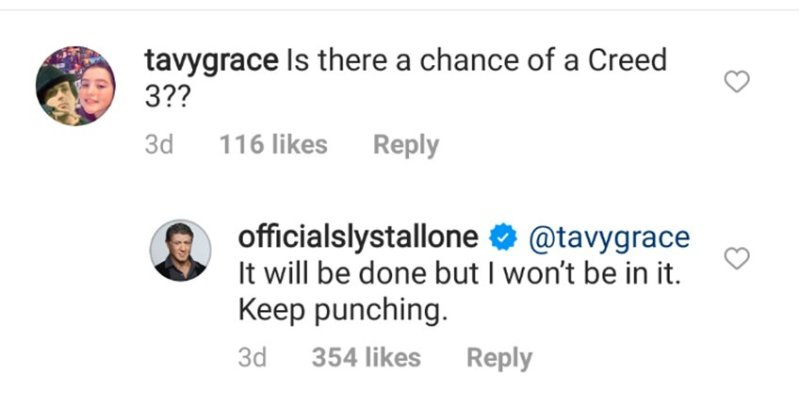 Sylvester Stallone confirma si Rocky estará o no en 'Creed 3' instagram-sylvester-stallone-creed3
