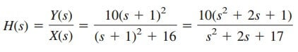 laplace transform transfer functions