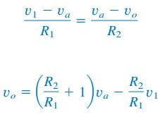 difference amplifier equation