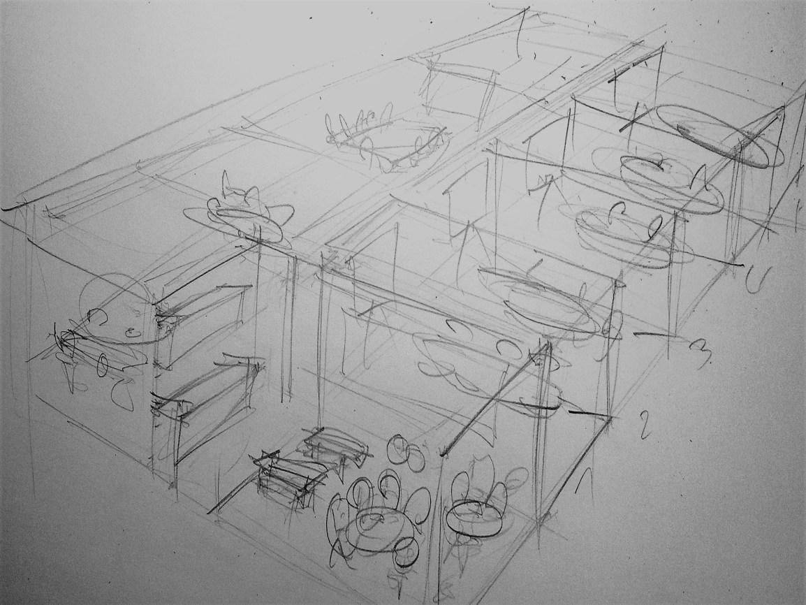 Loft-Achitekturskizze mit Bleistift