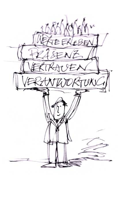 Werte kann man nicht lehren, sondern nur vorleben. Illustration des Zitats.