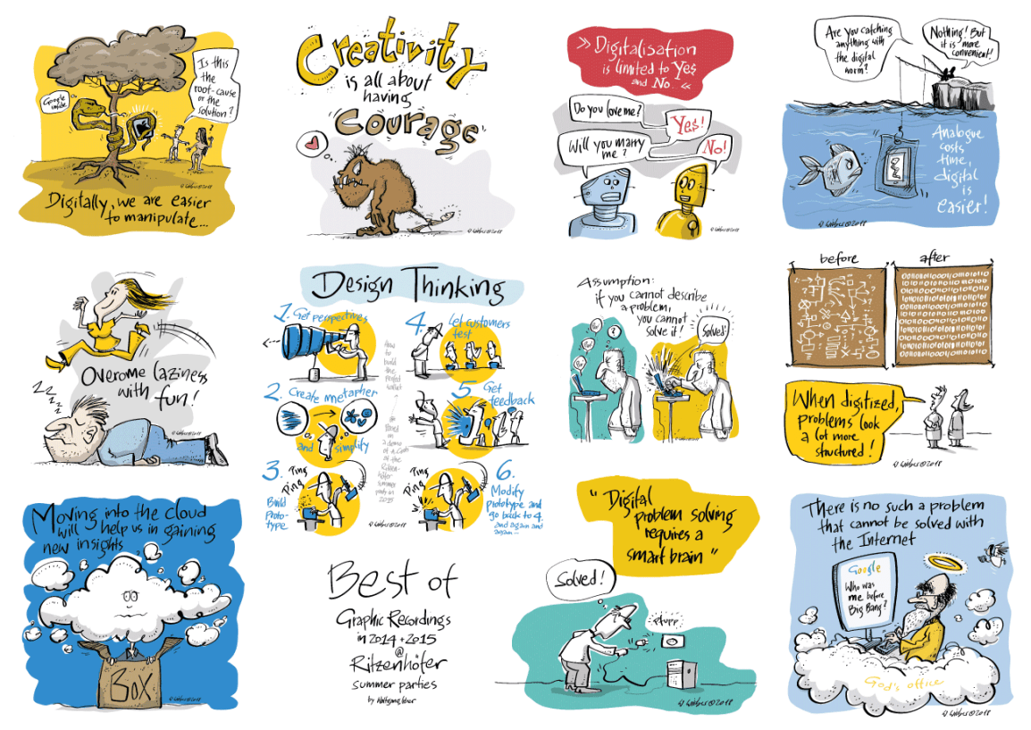 verschiedene Cartoons zum Thema Digitalisierung