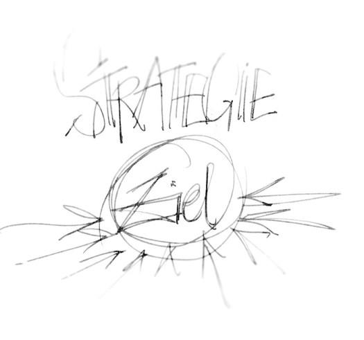 Strategie-Ziel als schnelle Skizze. Soabld des mit einer Strategie nicht mehr läuft, ist es an der Zeit neue Wege zu beschreiten. Illustration des Zitats.