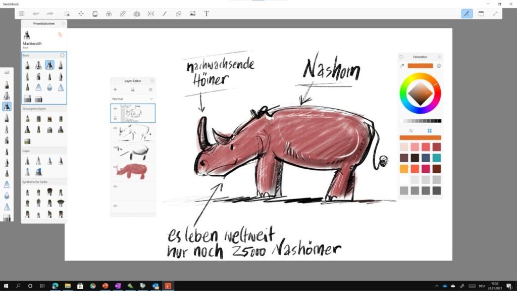 Zeichnen auf dem Microsoft Surface 15