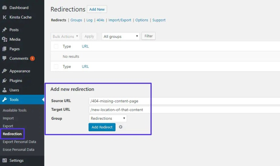 How to set up redirects with the Redirection plugin