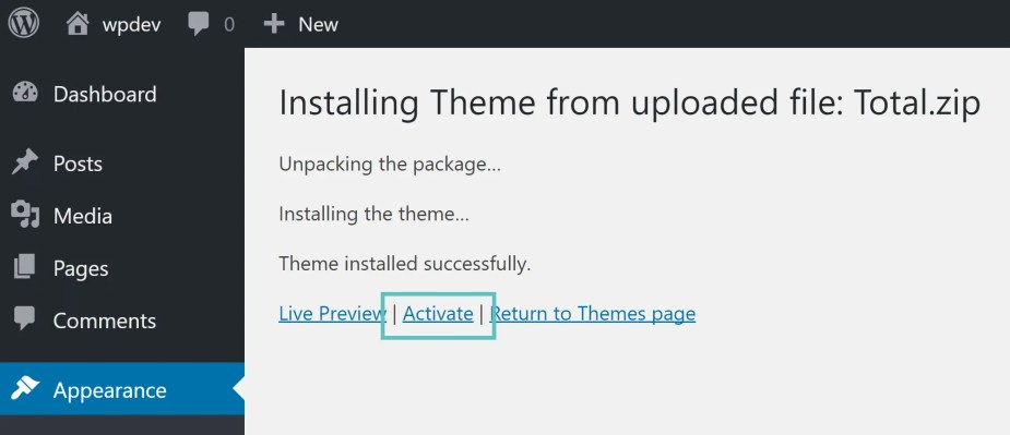 activate total wordpress theme