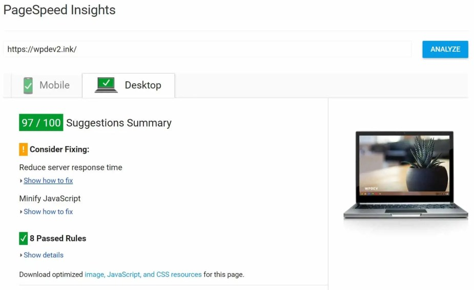 pagespeed insights after leverage browser caching