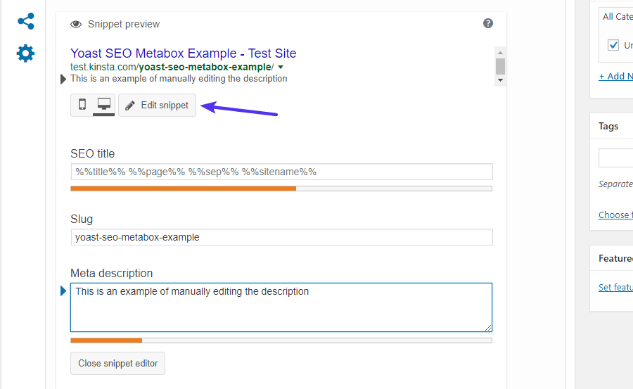 How to manually edit SEO snippet
