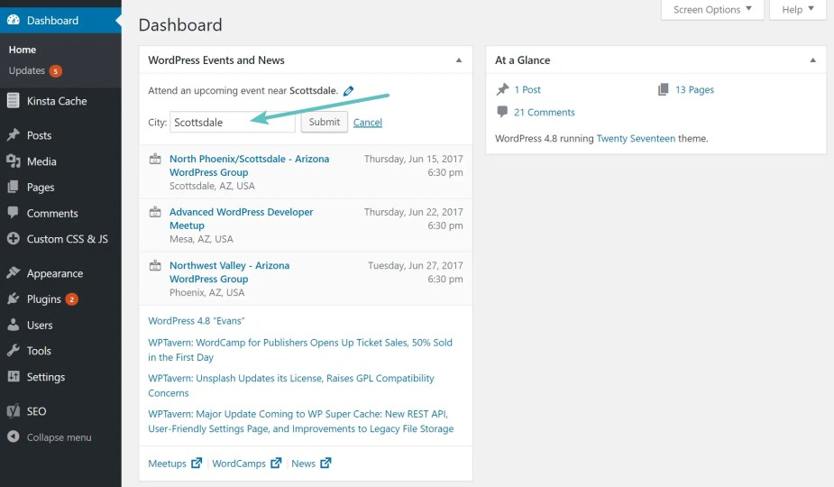 WordPress 4.8 events and news dashboard widget