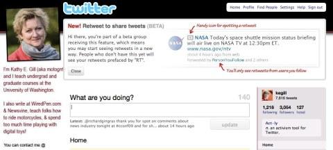 twitter retweet alert message for beta test