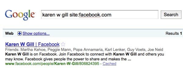 Successful Facebook Search Via Google