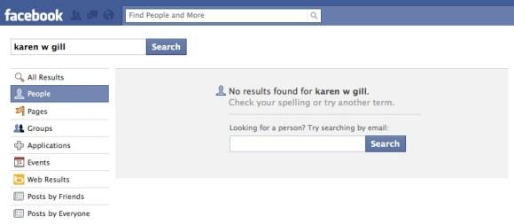 Failed Facebook Search