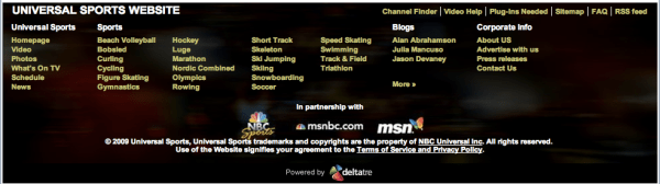 Footer Navigation for NBC Universal Sports