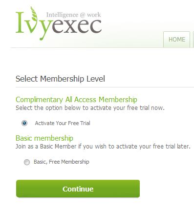 IveExec Trial screen