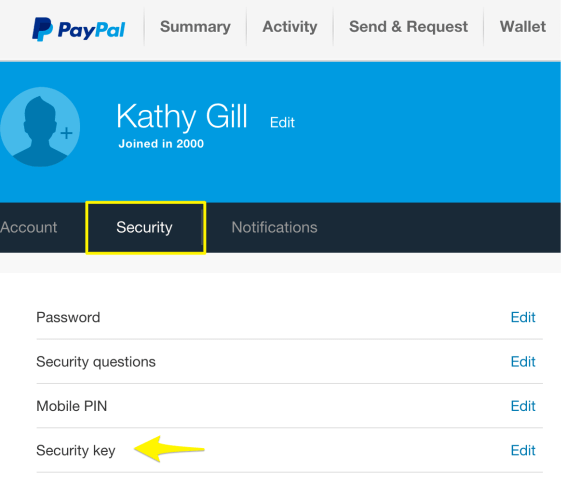 PayPal settings - security