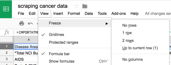 scrape data then freeze row google