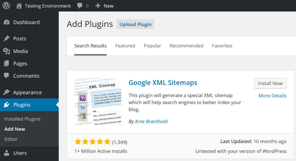 Installing the Google XML Sitemaps Plugin