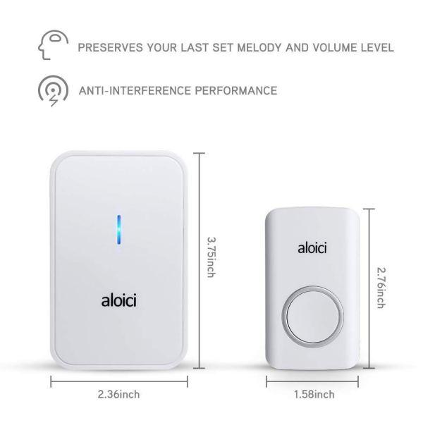 size of wireless doorbell