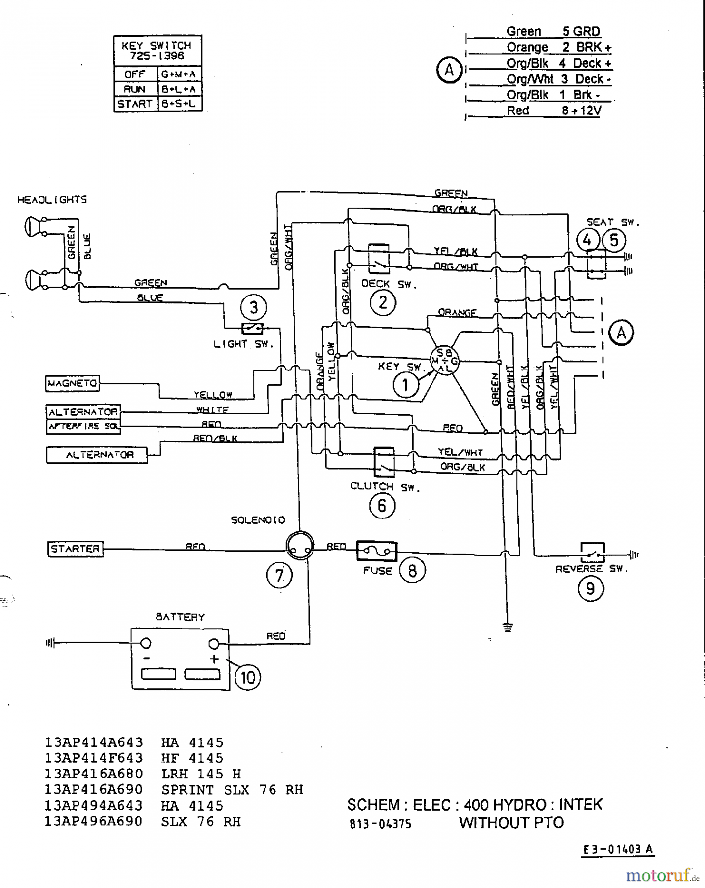 Lawnflite 604 Wiring Diagram