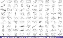 100 Electrical Engineering Icons Set Outline Stock Vector – Image