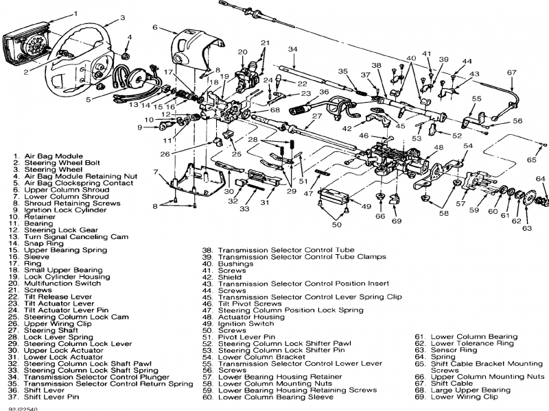1996 Ford F 150 Steering Column Diagram