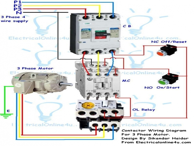 Wiring Diagram Single Phase Motor Contactor  Wiring Forums
