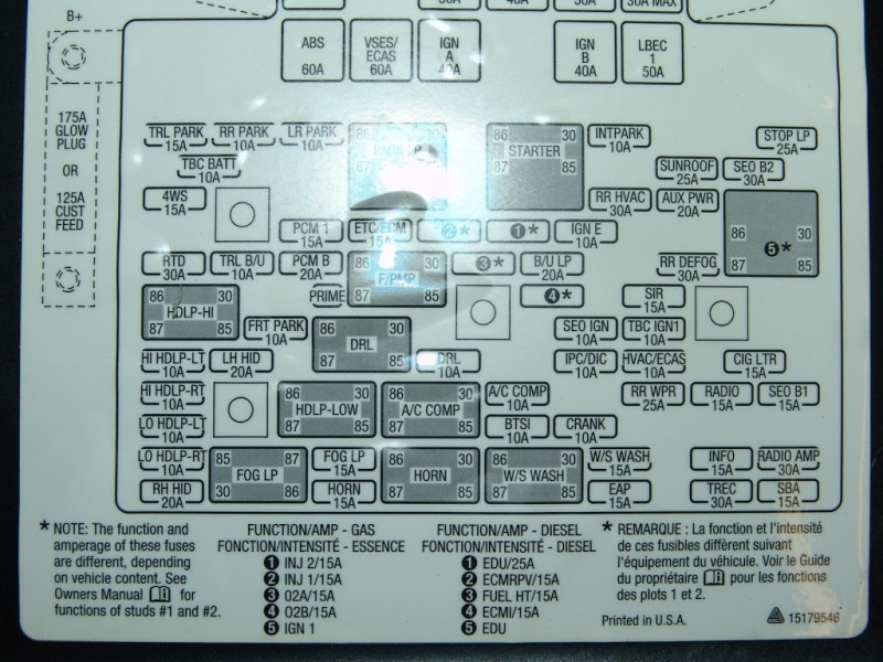 2002 Chevy Trailblazer Fuse Diagram Cluster