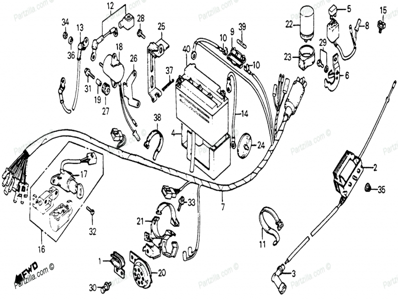 Honda Motorcycle Oem Parts Diagram For Wire Harness Horn on 1996 Honda Passport Wiring Diagram