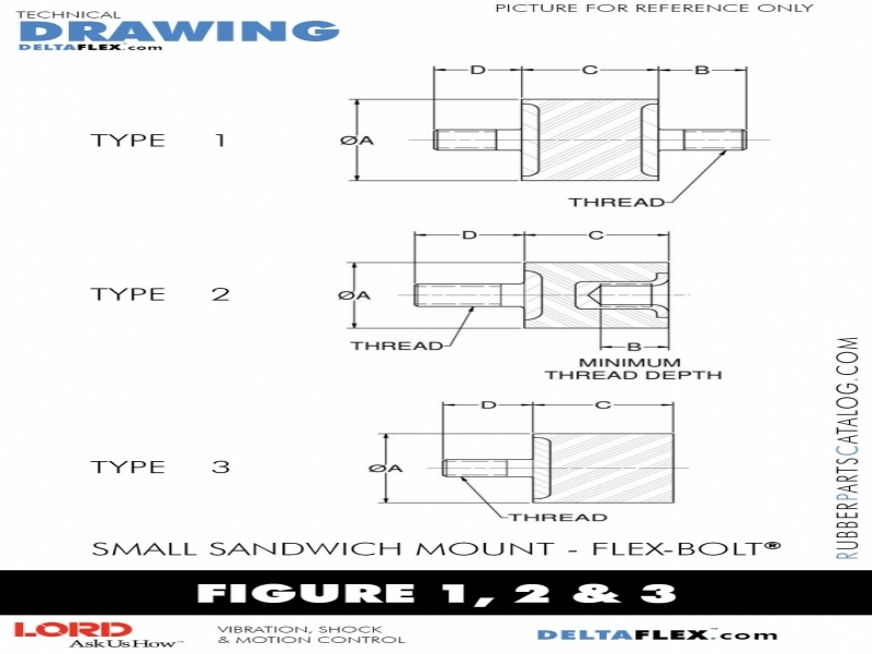 Smb003-0100-42 | Lord Small Rubber Sandwich Mount Std Unc Threads