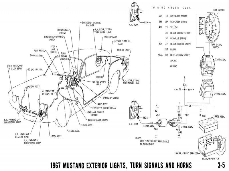 1970 Mustang Wiring Diagram & Pictorial And Horn Schematic