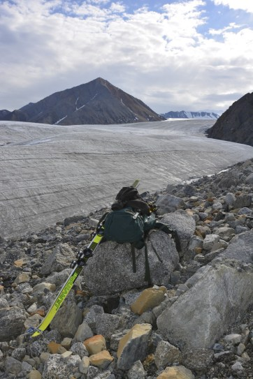 Shot of gear at a lunch stop while heading to the tributary glacier to test out the ice penetrating radar.