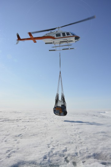 Sling load of gear to set up the Milne Ice Shelf camp.