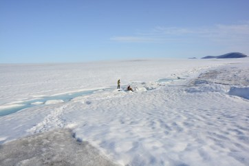 Andrew and Kevin doing a daily CTD cast at the Milne Ice Shelf camp site.