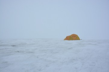 Adam's tent on the Milne Ice Shelf camp after thick fog had rolled in.