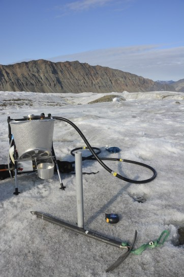 Ablation stake installed by Adam to track daily melt while at the glacier camp site.