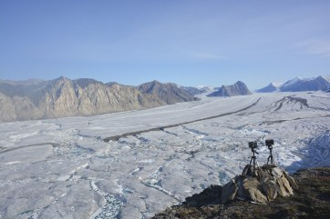 View from the time lapse cameras overlooking the Milne Glacier.