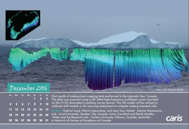 Mutlibeam survey of the 'saddle berg'. This figure, produced by Gabriel Joyal at Laboratoire de géosciences marine (Laval University), was featured in the 2016 CARIS calendar.