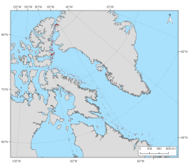 A map of the ice islands from the 2010 Petermann Glacier calving event digitized to date (quality control pending). On August 5, 2010 a 292 km2 ice island calved from the floating glacier tongue in Petermann Fiord, northwest Greenland. By July 31, 2011 there were 405 unique ice island fragments as far south as Newfoundland. Over 2500 images were examined and 4179 polygons of these ice islands were digitized from 667 images to document this event, so far.