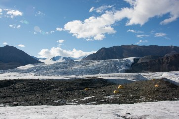 A beautiful sunny shot of the Milne Glacier camp.