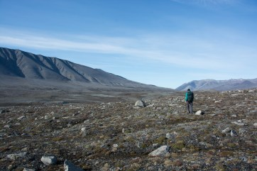Adam heading to the Purple Valley camp site after servicing time lapse cameras.