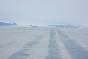 Stripes in the ice from refrozen crevasses originating at the ice fall in the distance (D.Mueller)