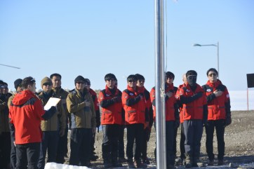 Winter-over team changeover ceremony at Jang Bogo Station (D.Mueller)