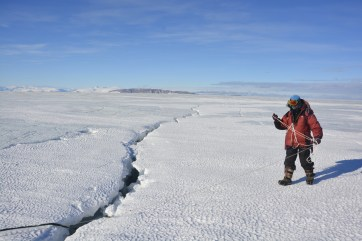 Jin Hong Kim near the only crevasse we saw on the ice shelf (D.Mueller)