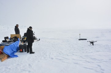 First UAV flight test by Adam at the ice ridge field site near Iqaluit (M.St-Amant)