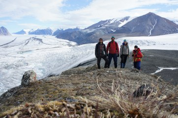 Group shot on the ridge overlooking the Milne Glacier and one of its tributary glaciers. Left to right: Sam Brenner, Derek Mueller, Kelly Graves and Jill Rajewicz.