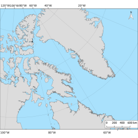 A map of the ice islands from the 2011 Petermann Glacier calving event. On August 16, 2011 4.4 km2 of ice calved from Petermann Glacier, northwest Greenland. By October 2012,502 polygons were observed in 489 images.