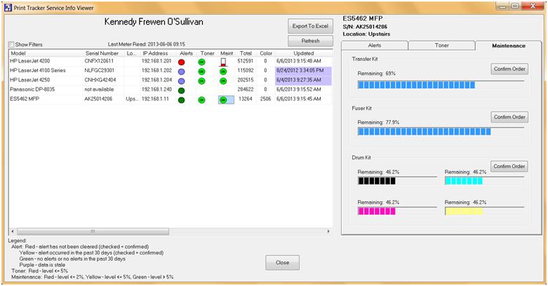 Print Tracker Service Info