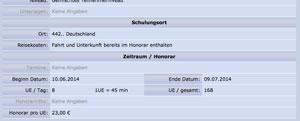 Auftrag für nur 23 Euro pro Unterrichtseinheit