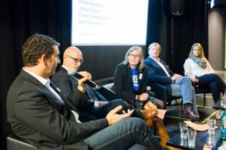 Jürgen Polzin, Sven Schneider, Bettina Blaß, Hans-Georg Elpers, Frederike Roser beim #jnrw14. Foto: DJV-NRW / Udo Geisler