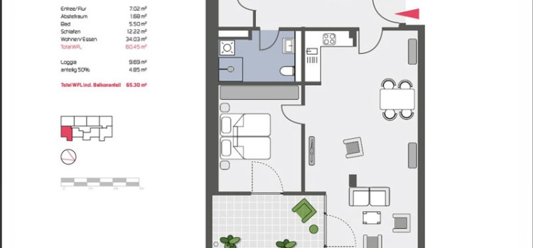 Grundriss Wohnung im Arion 76